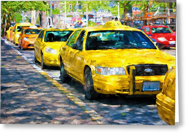 Queue Greeting Cards - Yellow Cabs - Taxis Greeting Card by Nikolyn McDonald