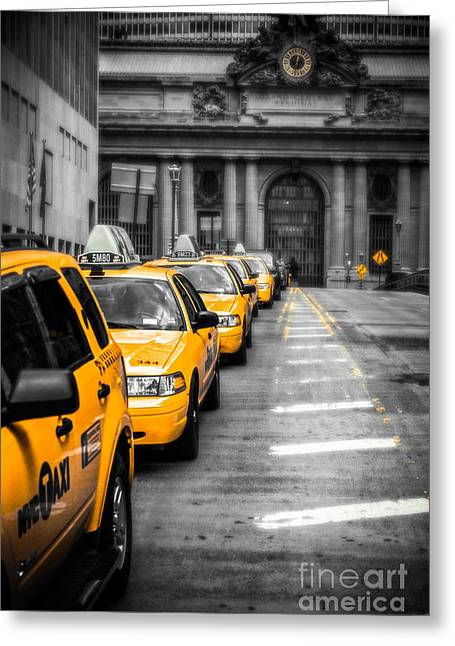 Hannes Cmarits Greeting Cards - Yellow Cabs waiting - Grand Central Terminal - bw o Greeting Card by Hannes Cmarits