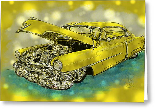 Old Digital Art Greeting Cards - Yellow Cad Greeting Card by Debra Baldwin