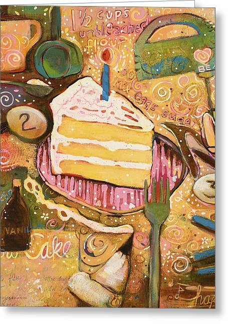 Food Art Paintings Greeting Cards - Yellow Cake Recipe Greeting Card by Jen Norton