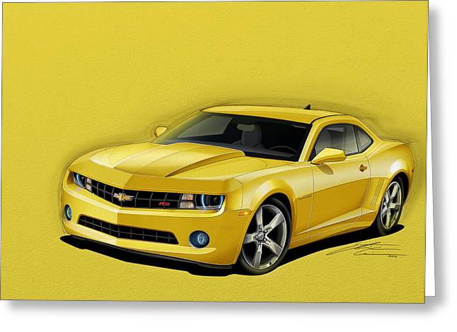 2012 Digital Art Greeting Cards - Yellow Camaro Greeting Card by Etienne Carignan