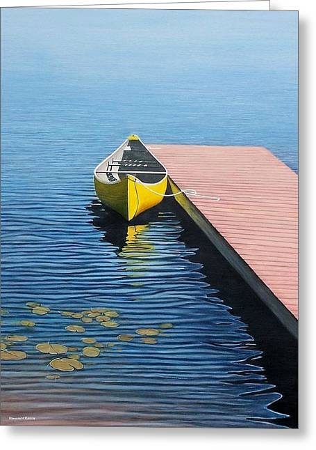 Wooden Dock Greeting Cards - Yellow Canoe Greeting Card by Kenneth M  Kirsch