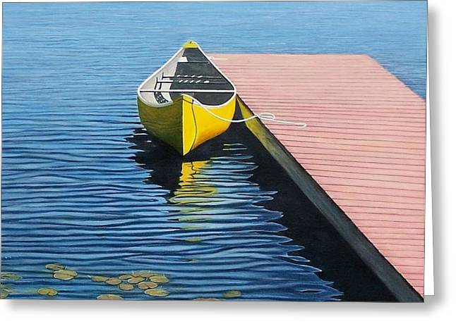 Yellow Canoe Greeting Card by Kenneth M  Kirsch