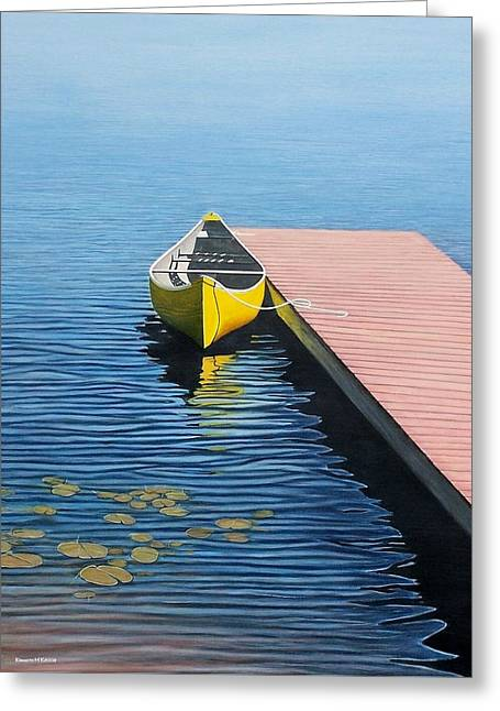 Lakeshore Greeting Cards - Yellow Canoe Greeting Card by Kenneth M  Kirsch