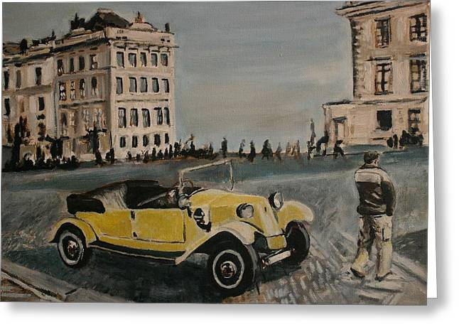Prague Paintings Greeting Cards - Yellow Car in Prague Greeting Card by Victor SOTO