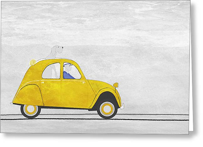 Road Trip Drawings Greeting Cards - Yellow car in France Greeting Card by J Ripley Fagence