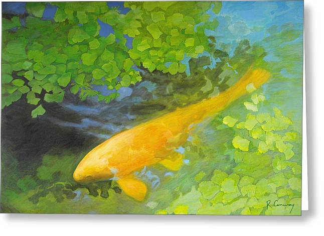 Robert Conway Greeting Cards - Yellow Carp in Green Greeting Card by Robert Conway