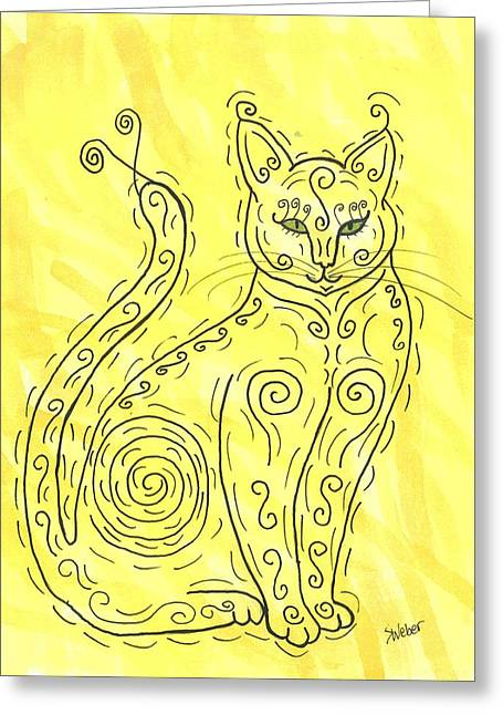 Susie Weber Greeting Cards - Yellow Cat Squiggle Greeting Card by Susie Weber