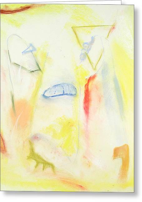 Caves Pastels Greeting Cards - Yellow Cave Painting Greeting Card by Kazuya Akimoto