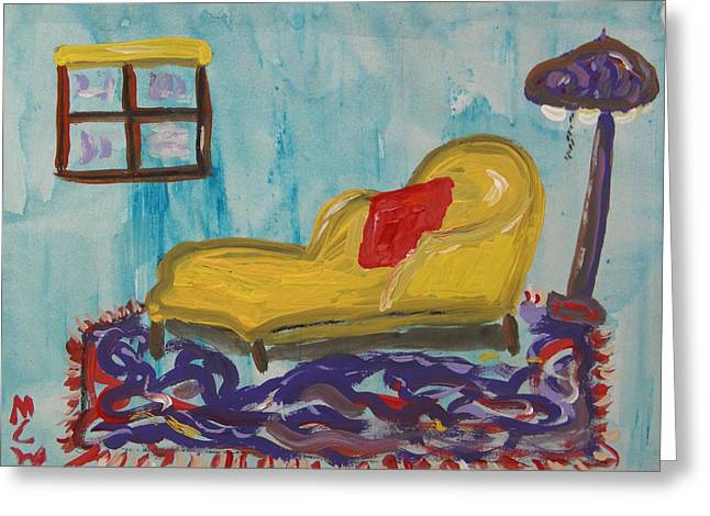 Chaise Drawings Greeting Cards - Yellow Chaise-Red Pillow Greeting Card by Mary Carol Williams