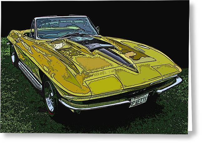 Samuel Sheats Greeting Cards - Yellow Chevy Corvette Stingray Greeting Card by Samuel Sheats