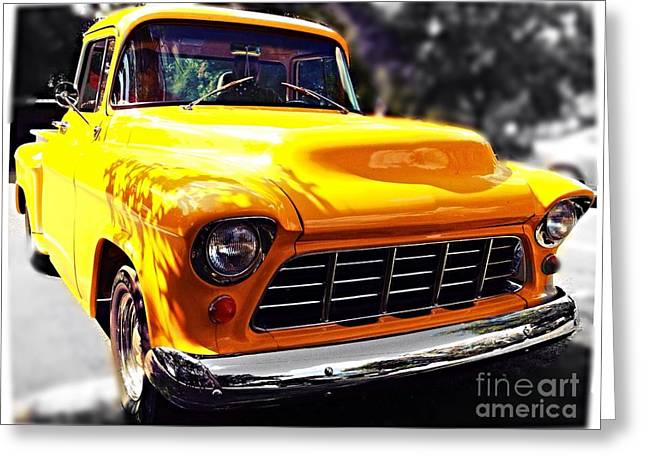 Yellow Chevy Greeting Card by Garren Zanker