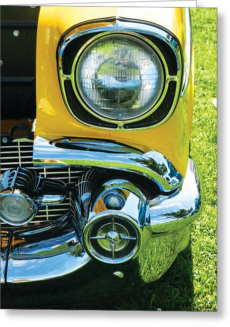 Headlight Pyrography Greeting Cards - Yellow Chevy Greeting Card by Val Miller