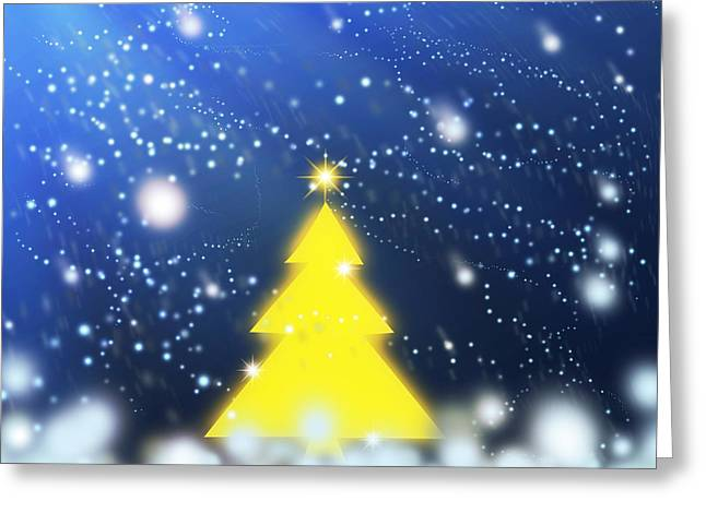Backdrop Greeting Cards - Yellow Christmas Tree Greeting Card by Atiketta Sangasaeng