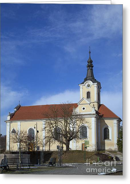 Czechia Greeting Cards - Yellow church in Czechia Greeting Card by Regina Koch