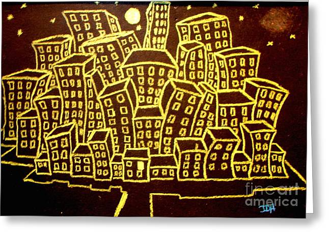Storybook Drawings Greeting Cards - Yellow City Or City Of Gold Greeting Card by Joseph Hawkins