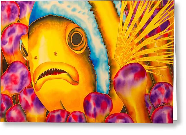 Pacific Tapestries - Textiles Greeting Cards - Yellow Clownfish Greeting Card by Daniel Jean-Baptiste