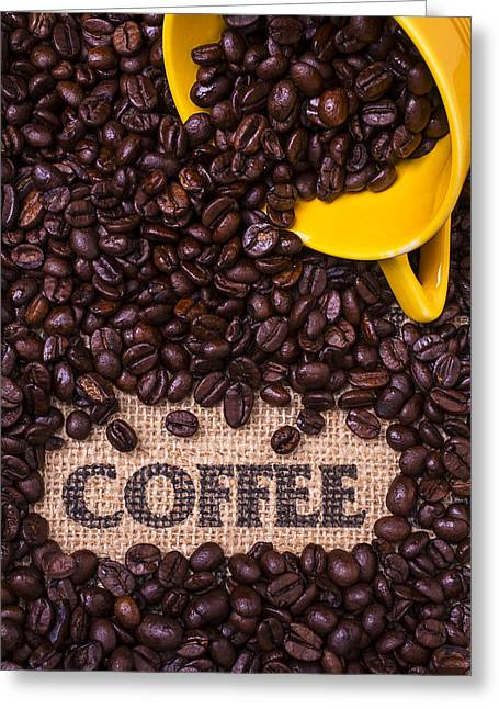 Pouring Greeting Cards - Yellow Coffee Cup With Coffee Beans Greeting Card by Garry Gay