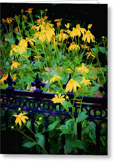 Abstracted Coneflowers Greeting Cards - Yellow Coneflowers Echinacea Wrought Iron Gate Greeting Card by Rich Franco