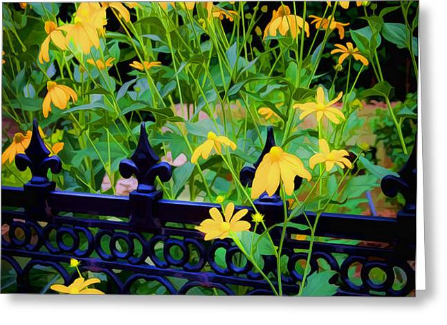 Yellow Coneflowers Echinacea Wrought Iron Gate Greeting Card by Rich Franco