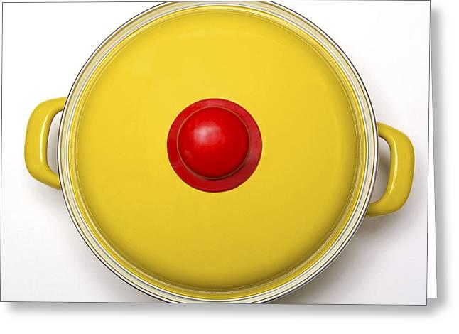 Kitchenware Greeting Cards - Yellow cooking pot Greeting Card by Bernard Jaubert