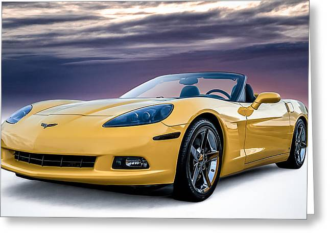 Yellows Greeting Cards - Yellow Corvette Convertible Greeting Card by Douglas Pittman