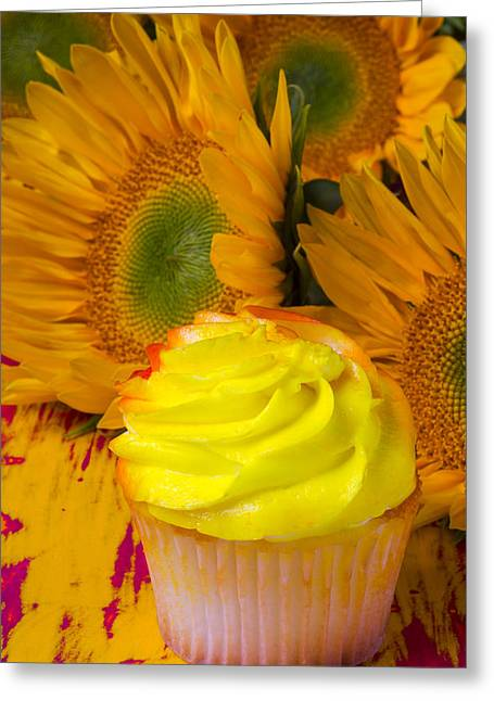 Yellow Cupcake And Sunflower Greeting Card by Garry Gay