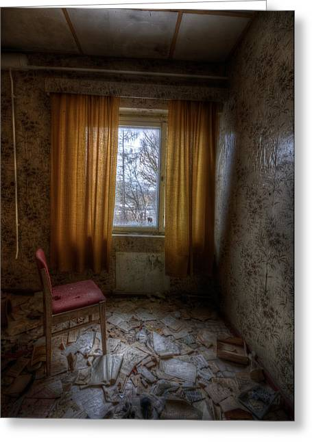 Creepy Digital Greeting Cards - Yellow curtains  Greeting Card by Nathan Wright