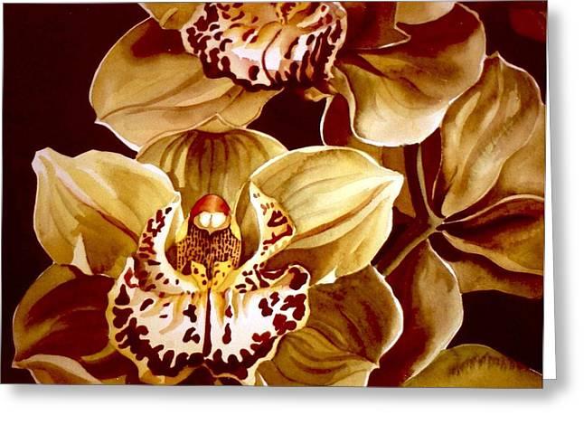 Alfred Ng Watercolor Greeting Cards - Yellow Cymbidium Orchid Greeting Card by Alfred Ng