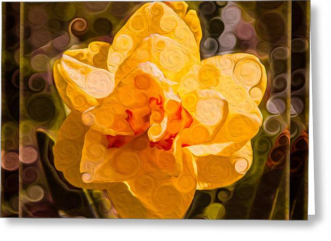 Owfotografik Greeting Cards - Yellow Daffodil in an Abstract Garden Painting Greeting Card by Omaste Witkowski
