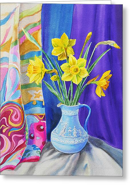 Daffodil Greeting Cards - Yellow Daffodils Greeting Card by Irina Sztukowski