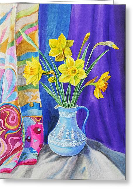 Landscape. Scenic Greeting Cards - Yellow Daffodils Greeting Card by Irina Sztukowski