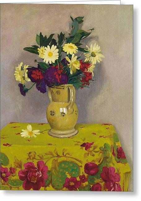 Vallotton Greeting Cards - Yellow daisies and various flowers Greeting Card by Felix Edouard Vallotton
