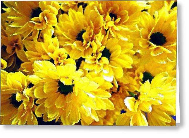 Interior Still Life Digital Art Greeting Cards - Yellow Daisies Greeting Card by Florian Rodarte