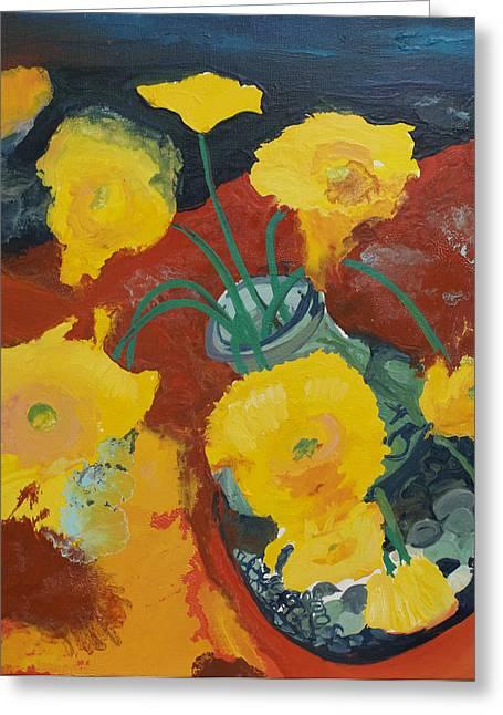 Joseph Demaree Greeting Cards - Yellow Daisies Greeting Card by Joseph Demaree