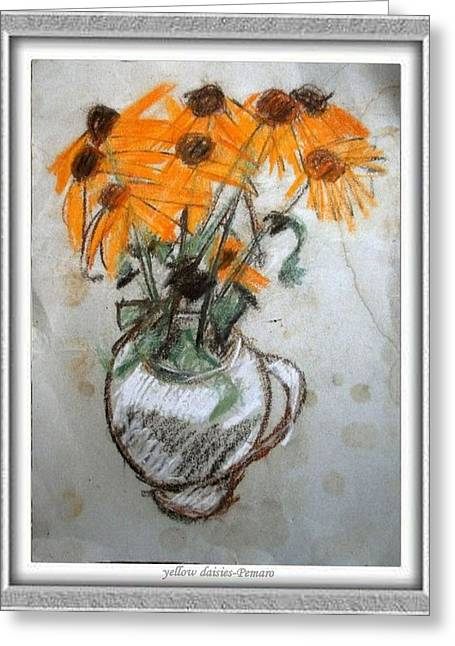 Floral Still Life Greeting Cards - Yellow Daisies Greeting Card by Pemaro