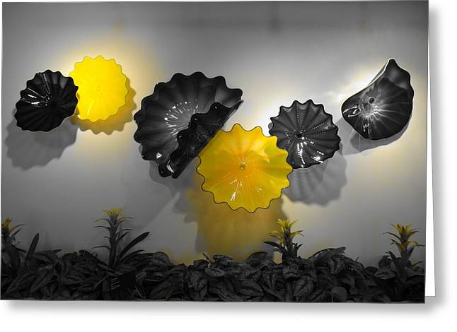 Art Blown Glass Photographs Photographs Photographs Greeting Cards - Yellow Greeting Card by Dan Sproul
