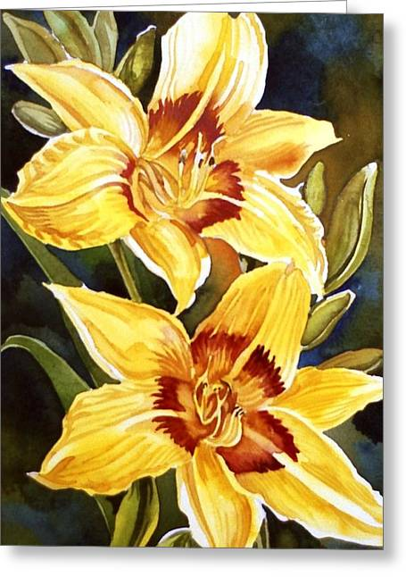 Yellow Daylilies Greeting Card by Alfred Ng
