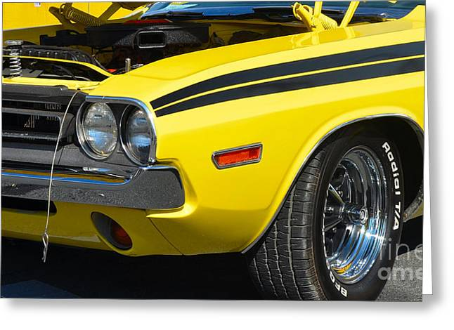 Mopar Collector Greeting Cards - Yellow Dodge Challenger Greeting Card by Mark Spearman