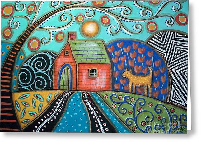 Dog House Greeting Cards - Yellow Dog Greeting Card by Karla Gerard