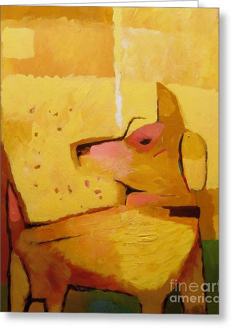 Yellow Dog Paintings Greeting Cards - Yellow Dog Greeting Card by Lutz Baar