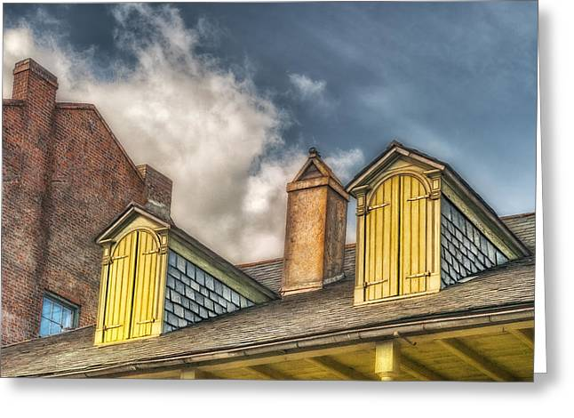 French Quarter Doors Greeting Cards - Yellow Dormers Greeting Card by Brenda Bryant