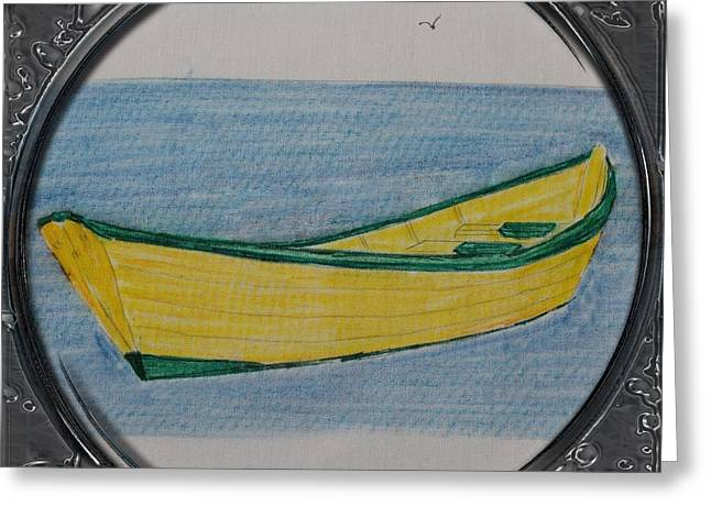 Barbara Griffin Quilts Greeting Cards - Yellow Dory Porthole Vignette Greeting Card by Barbara Griffin