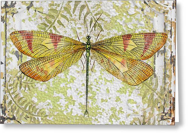 Metal Dragonfly Greeting Cards - Yellow Dragonfly on Vintage Tin Greeting Card by Jean Plout