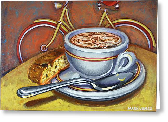 Mark Howard Jones Greeting Cards - Yellow Dutch Bicycle with Cappuccino and biscotti Greeting Card by Mark Howard Jones