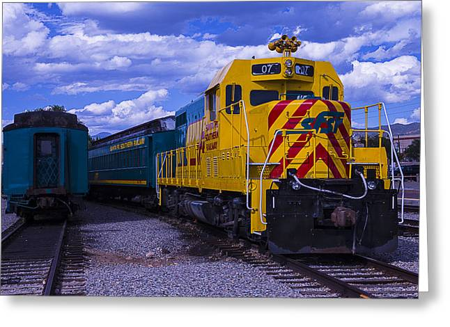Depot Greeting Cards - Yellow Engine 07 Greeting Card by Garry Gay