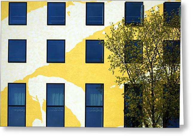 Berlin Germany Greeting Cards - Yellow facade in Berlin Greeting Card by RicardMN Photography