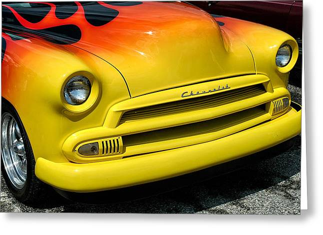 Yellow Face Greeting Card by Allen Carroll