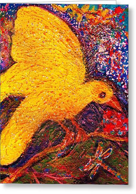 Yellow Fellow And Friend Greeting Card by Anne-Elizabeth Whiteway