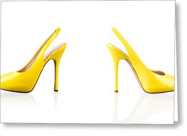 Open Toe Shoes Greeting Cards - Yellow female shoes over white Greeting Card by Nikita Buida